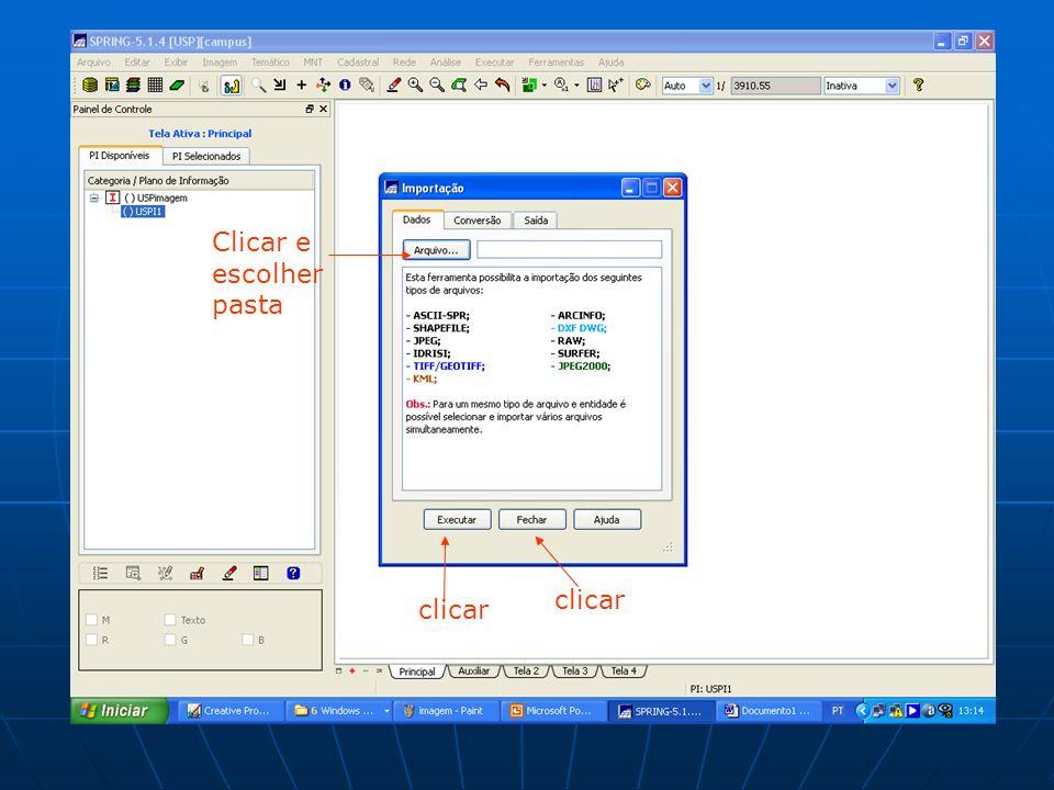 Clicar e escolher pasta clicar clicar