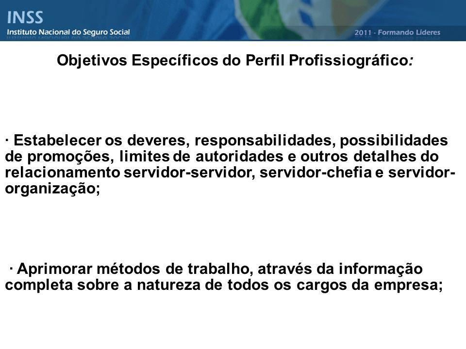 Objetivos Específicos do Perfil Profissiográfico: