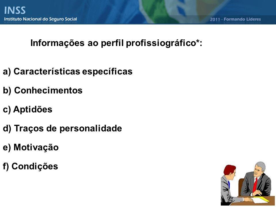 Informações ao perfil profissiográfico*: