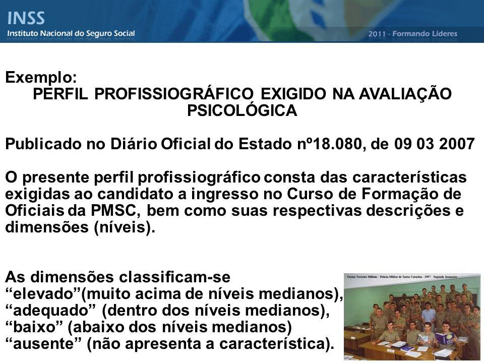 PERFIL PROFISSIOGRÁFICO EXIGIDO NA AVALIAÇÃO PSICOLÓGICA