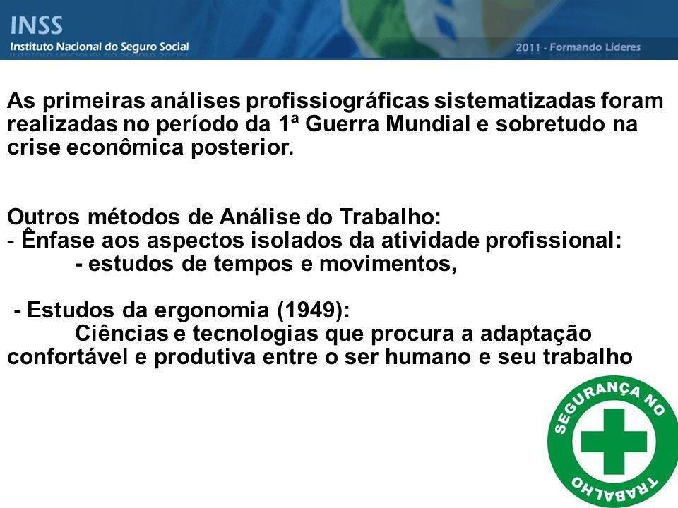 As primeiras análises profissiográficas sistematizadas foram realizadas no período da 1ª Guerra Mundial e sobretudo na crise econômica posterior.