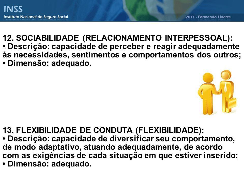 12. SOCIABILIDADE (RELACIONAMENTO INTERPESSOAL):
