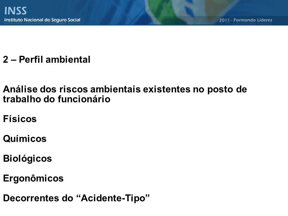 2 – Perfil ambiental Análise dos riscos ambientais existentes no posto de trabalho do funcionário. Físicos.