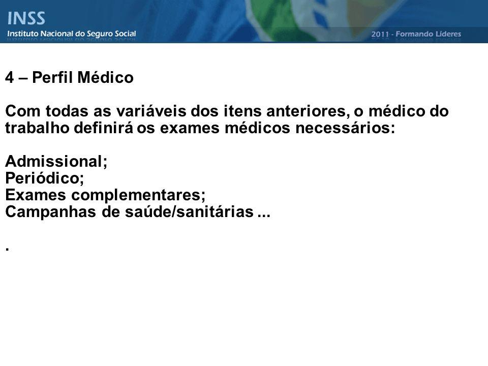4 – Perfil Médico Com todas as variáveis dos itens anteriores, o médico do trabalho definirá os exames médicos necessários: