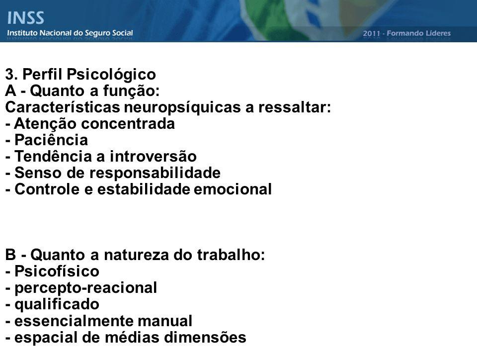 3. Perfil Psicológico A - Quanto a função: Características neuropsíquicas a ressaltar: - Atenção concentrada.