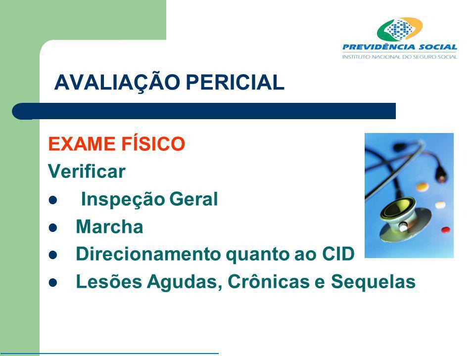 AVALIAÇÃO PERICIAL EXAME FÍSICO Verificar Inspeção Geral Marcha