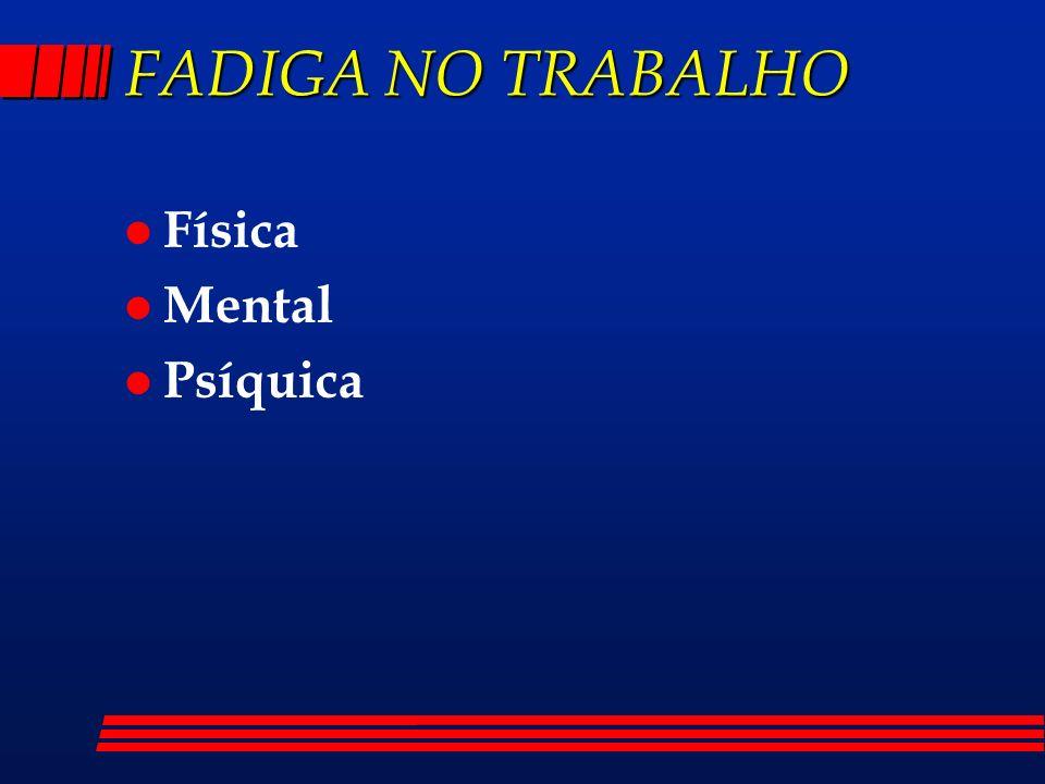 FADIGA NO TRABALHO Física Mental Psíquica