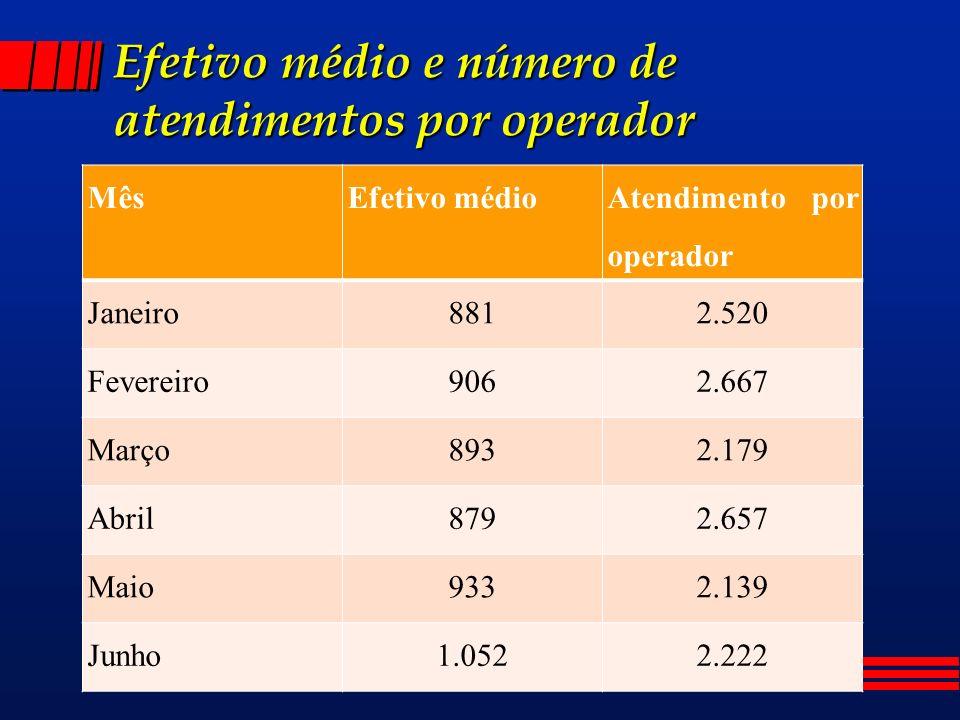 Efetivo médio e número de atendimentos por operador