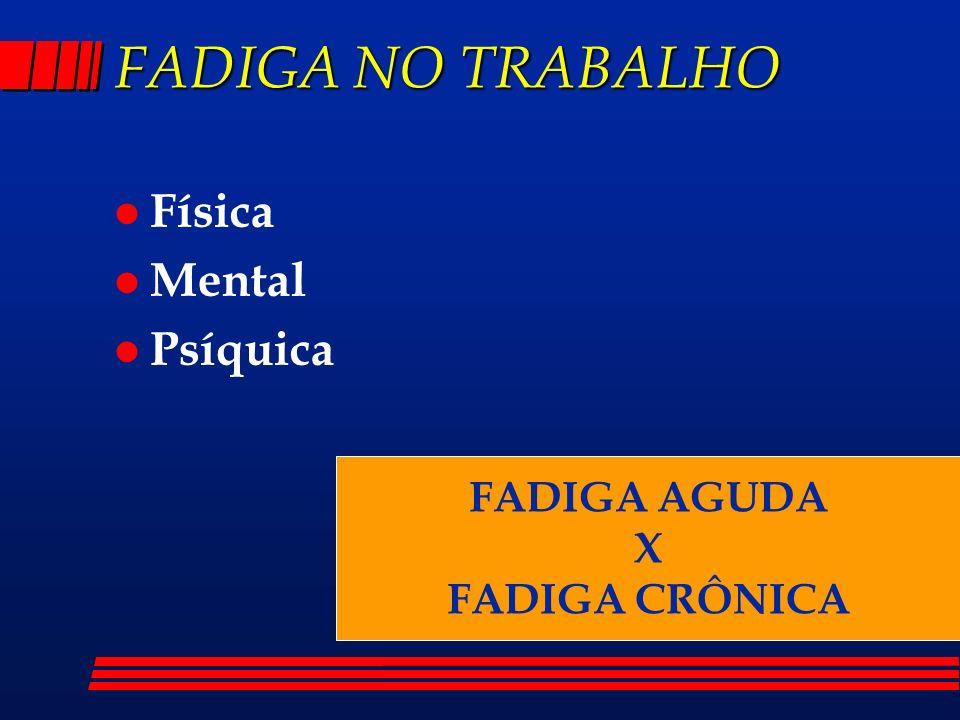 FADIGA NO TRABALHO Física Mental Psíquica FADIGA AGUDA X