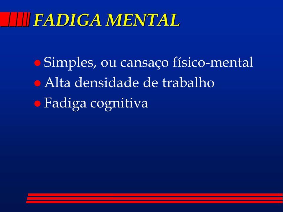 FADIGA MENTAL Simples, ou cansaço físico-mental