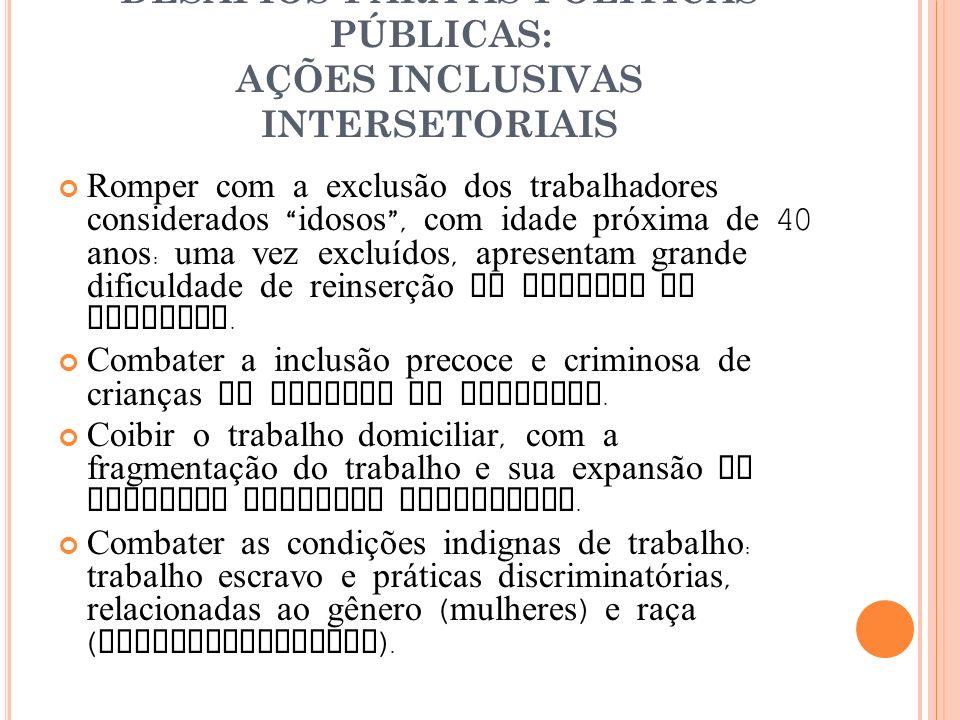 DESAFIOS PARA AS POLÍTICAS PÚBLICAS: AÇÕES INCLUSIVAS INTERSETORIAIS