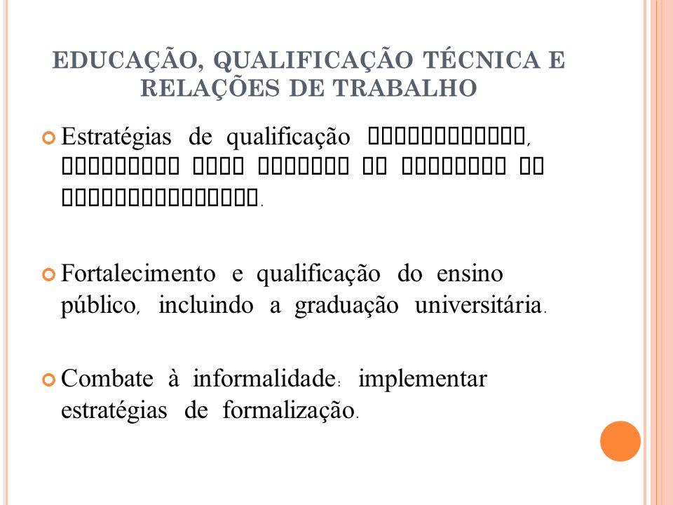EDUCAÇÃO, QUALIFICAÇÃO TÉCNICA E RELAÇÕES DE TRABALHO