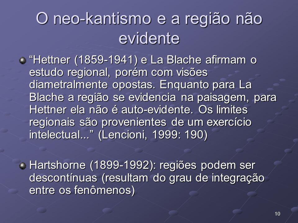O neo-kantismo e a região não evidente