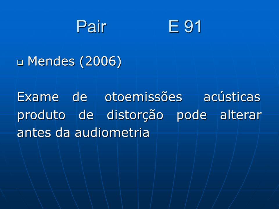 Pair E 91 Mendes (2006) Exame de otoemissões acústicas