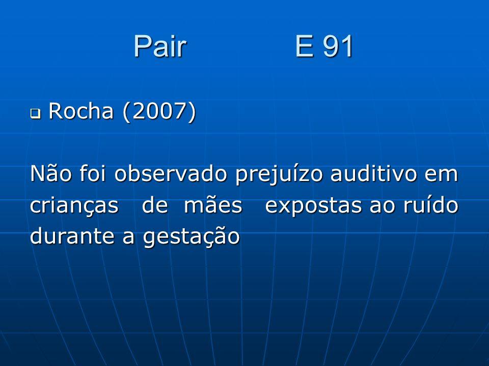 Pair E 91 Rocha (2007) Não foi observado prejuízo auditivo em