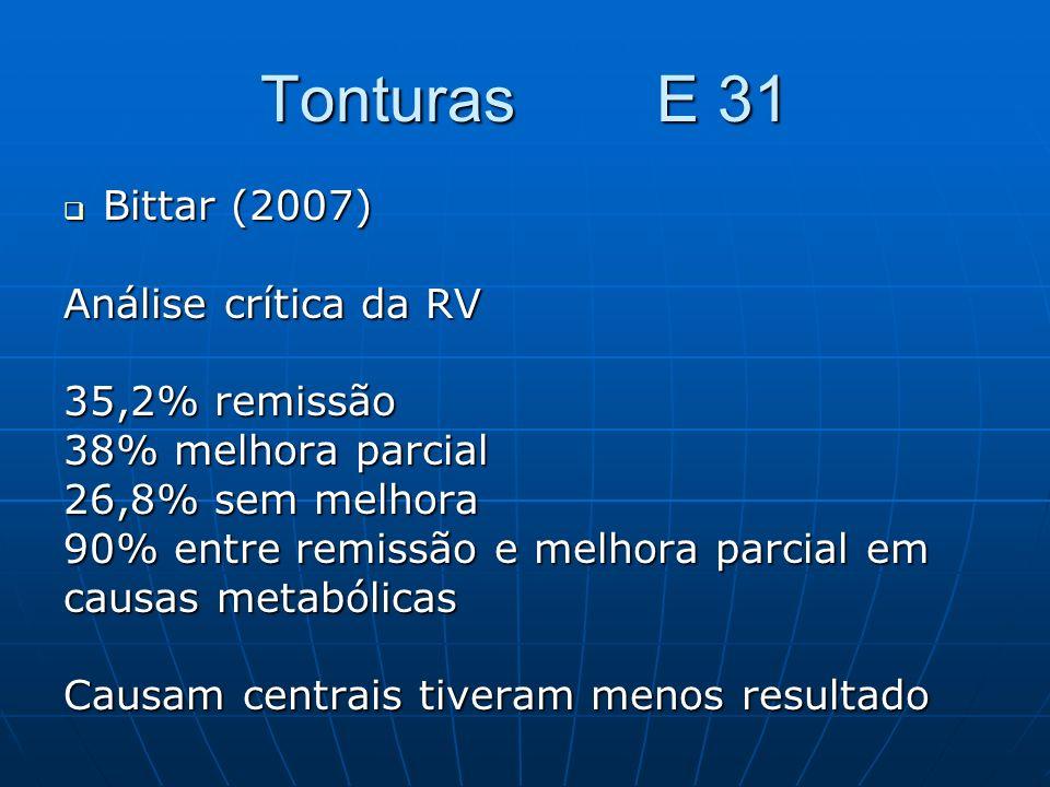 Tonturas E 31 Bittar (2007) Análise crítica da RV 35,2% remissão