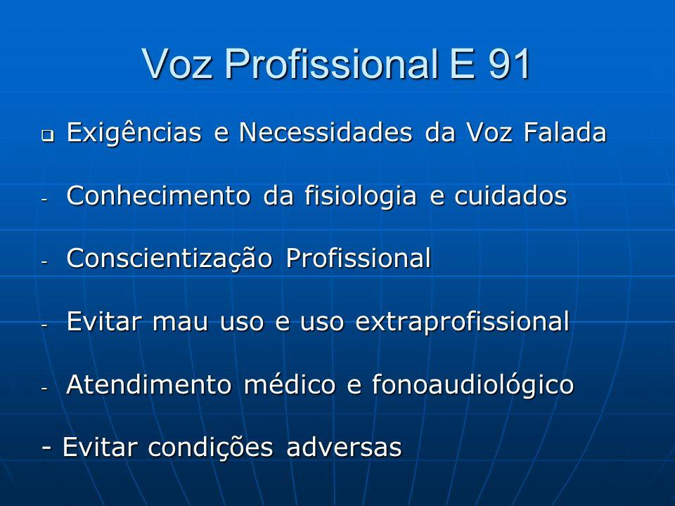 Voz Profissional E 91 Exigências e Necessidades da Voz Falada