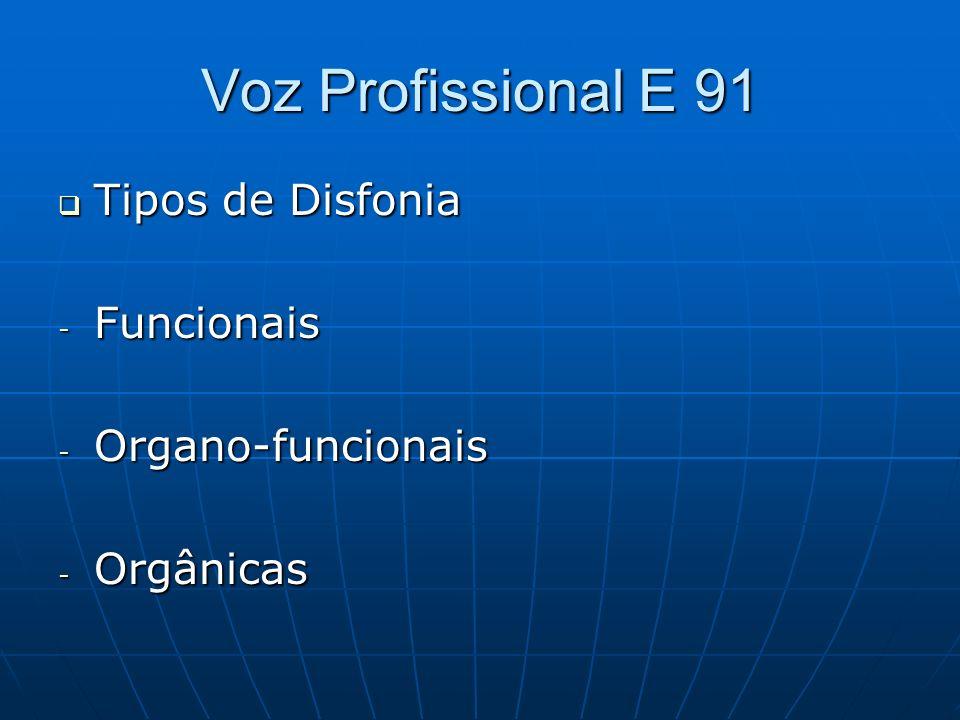 Voz Profissional E 91 Tipos de Disfonia Funcionais Organo-funcionais