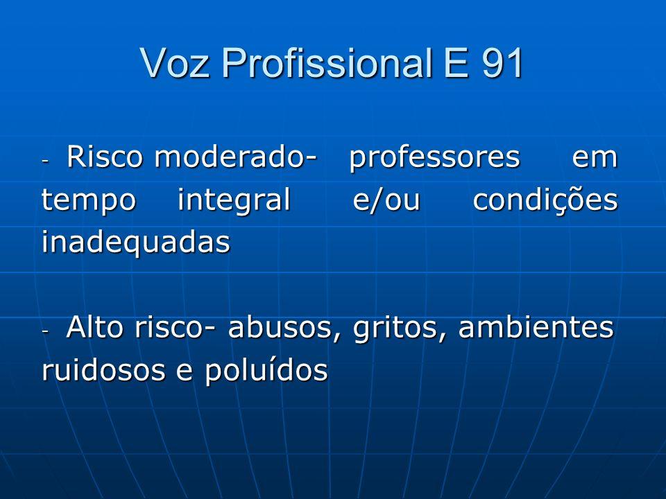 Voz Profissional E 91 Risco moderado- professores em