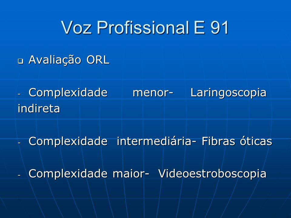Voz Profissional E 91 Avaliação ORL Complexidade menor- Laringoscopia