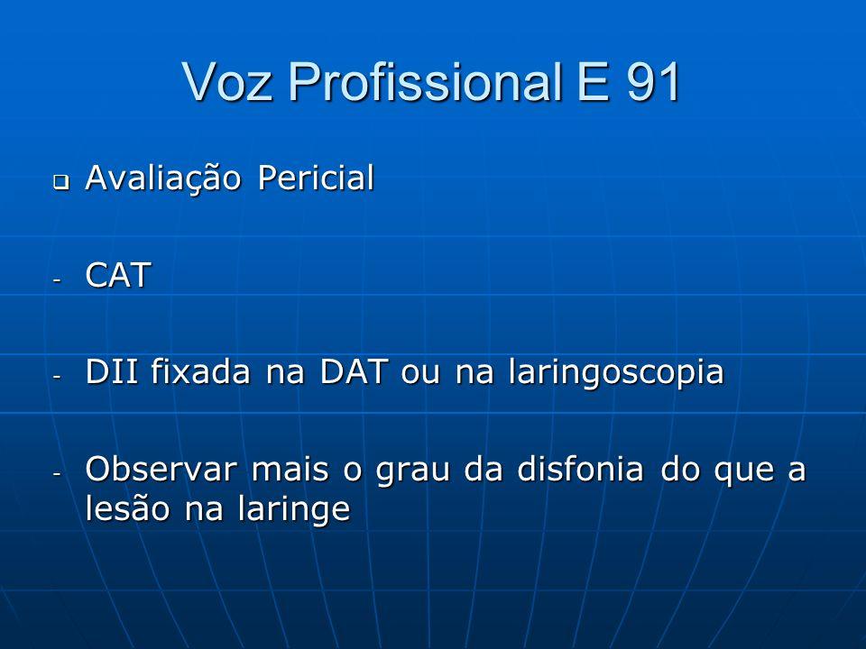 Voz Profissional E 91 Avaliação Pericial CAT