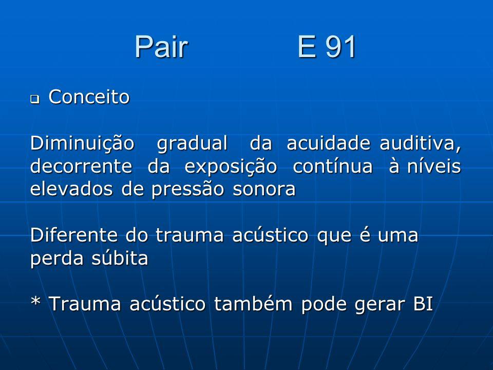 Pair E 91 Conceito Diminuição gradual da acuidade auditiva,