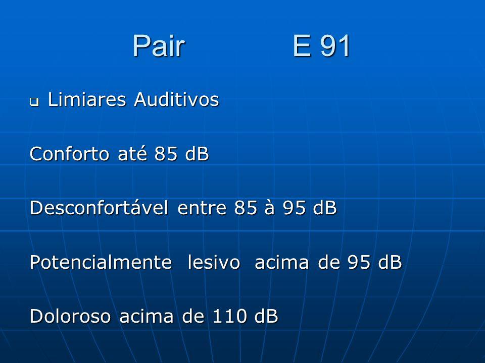 Pair E 91 Limiares Auditivos Conforto até 85 dB