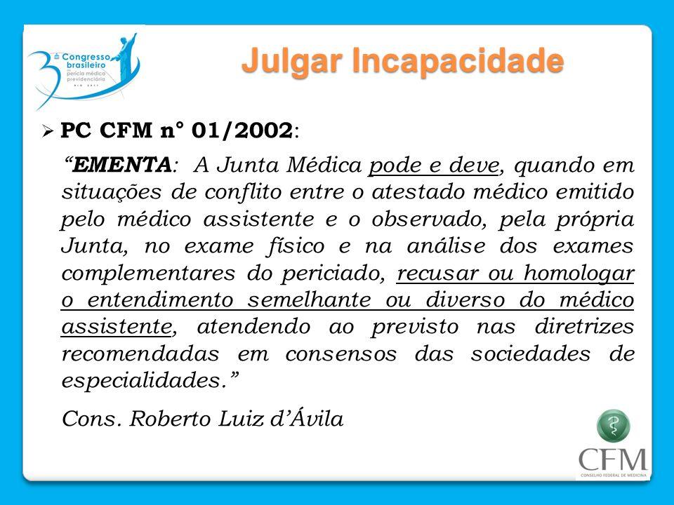 Julgar Incapacidade PC CFM n° 01/2002: