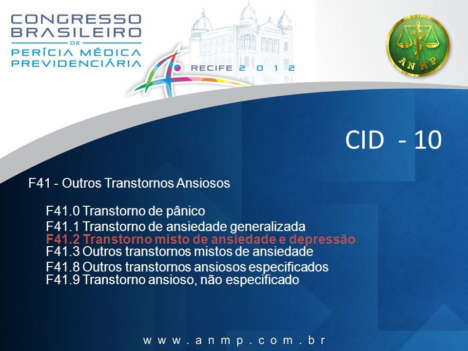 CID - 10 F41 - Outros Transtornos Ansiosos F41.0 Transtorno de pânico