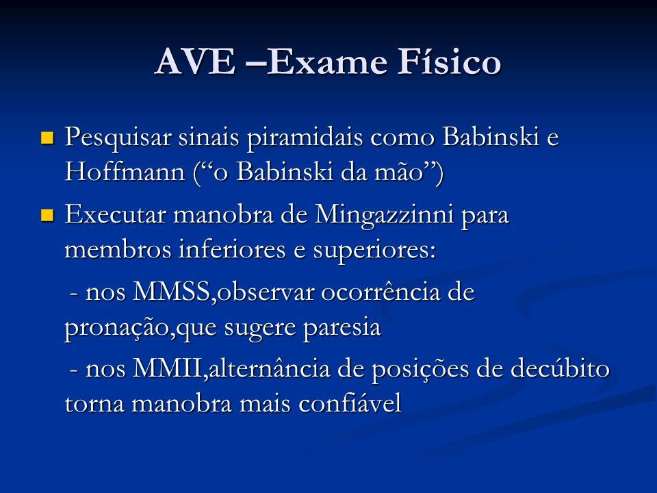 AVE –Exame Físico Pesquisar sinais piramidais como Babinski e Hoffmann ( o Babinski da mão )