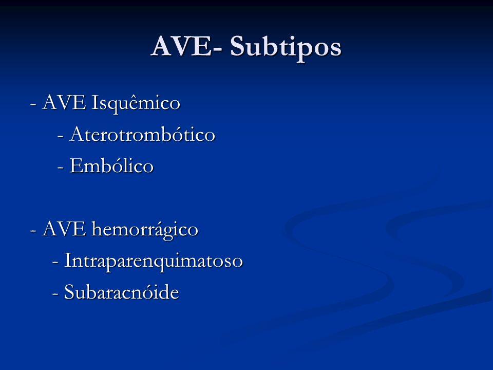 AVE- Subtipos - AVE Isquêmico - Aterotrombótico - Embólico