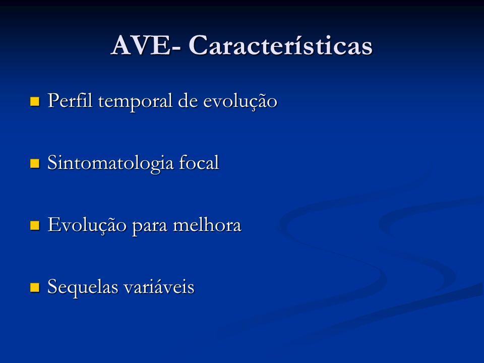 AVE- Características Perfil temporal de evolução Sintomatologia focal