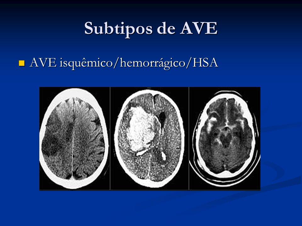 Subtipos de AVE AVE isquêmico/hemorrágico/HSA