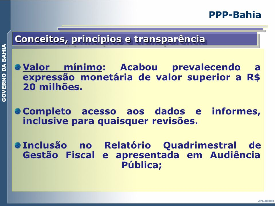 Conceitos, princípios e transparência