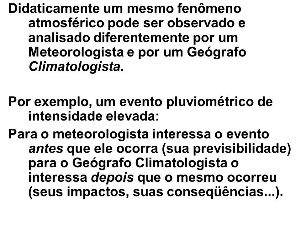 Didaticamente um mesmo fenômeno atmosférico pode ser observado e analisado diferentemente por um Meteorologista e por um Geógrafo Climatologista.