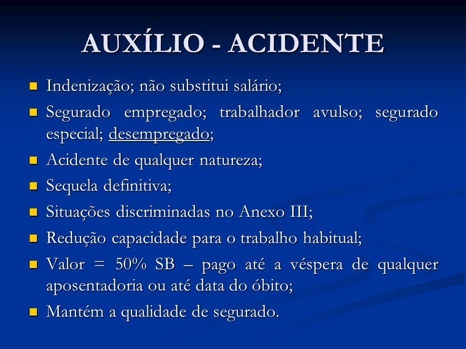 AUXÍLIO - ACIDENTE Indenização; não substitui salário;