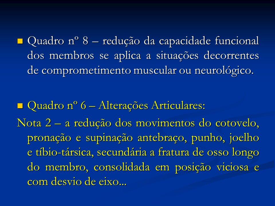 Quadro nº 8 – redução da capacidade funcional dos membros se aplica a situações decorrentes de comprometimento muscular ou neurológico.