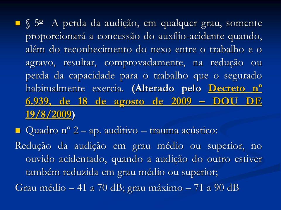 § 5o A perda da audição, em qualquer grau, somente proporcionará a concessão do auxílio-acidente quando, além do reconhecimento do nexo entre o trabalho e o agravo, resultar, comprovadamente, na redução ou perda da capacidade para o trabalho que o segurado habitualmente exercia. (Alterado pelo Decreto nº 6.939, de 18 de agosto de 2009 – DOU DE 19/8/2009)
