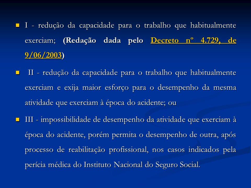I - redução da capacidade para o trabalho que habitualmente exerciam; (Redação dada pelo Decreto nº 4.729, de 9/06/2003)