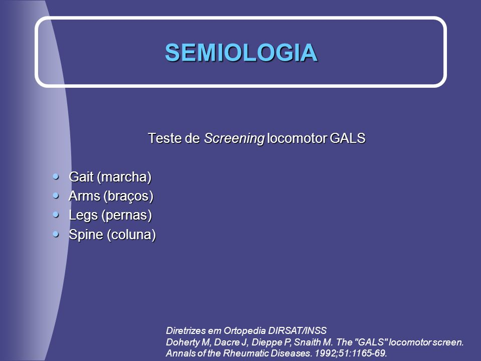 Teste de Screening locomotor GALS