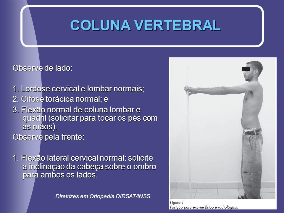 COLUNA VERTEBRAL Observe de lado: