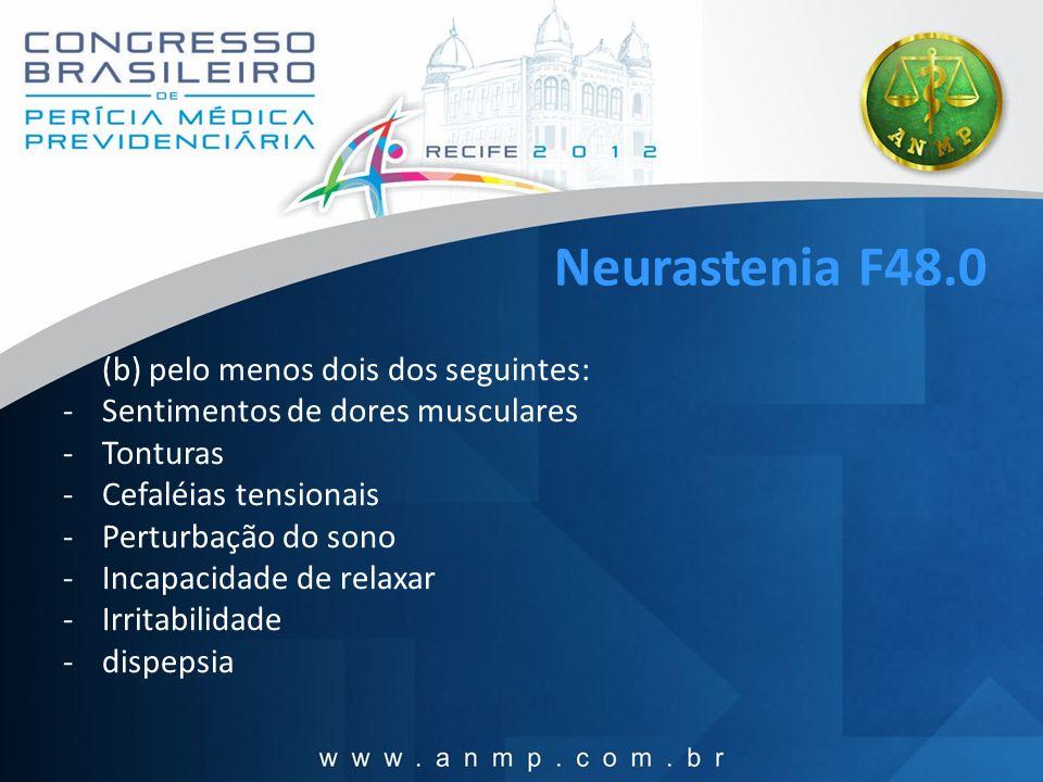 Neurastenia F48.0 Sentimentos de dores musculares Tonturas