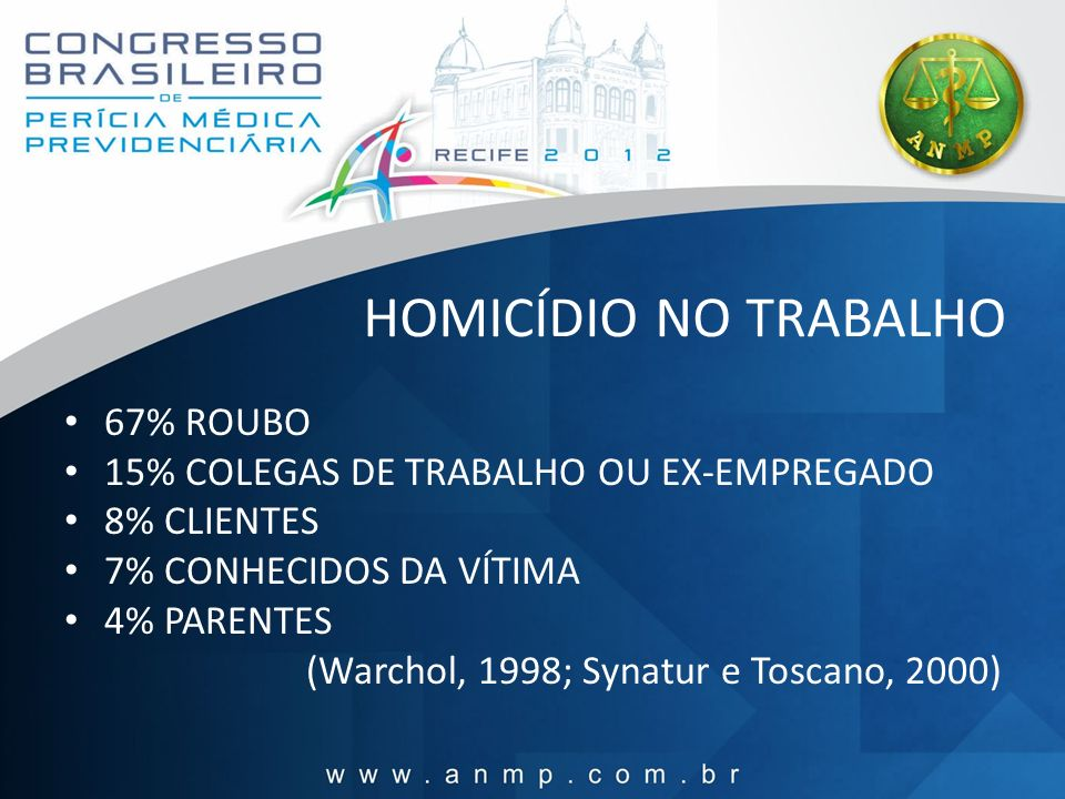 HOMICÍDIO NO TRABALHO 67% ROUBO