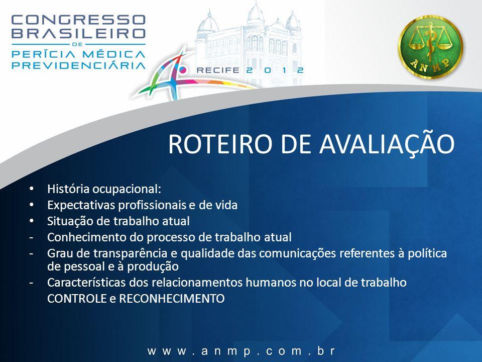ROTEIRO DE AVALIAÇÃO História ocupacional: