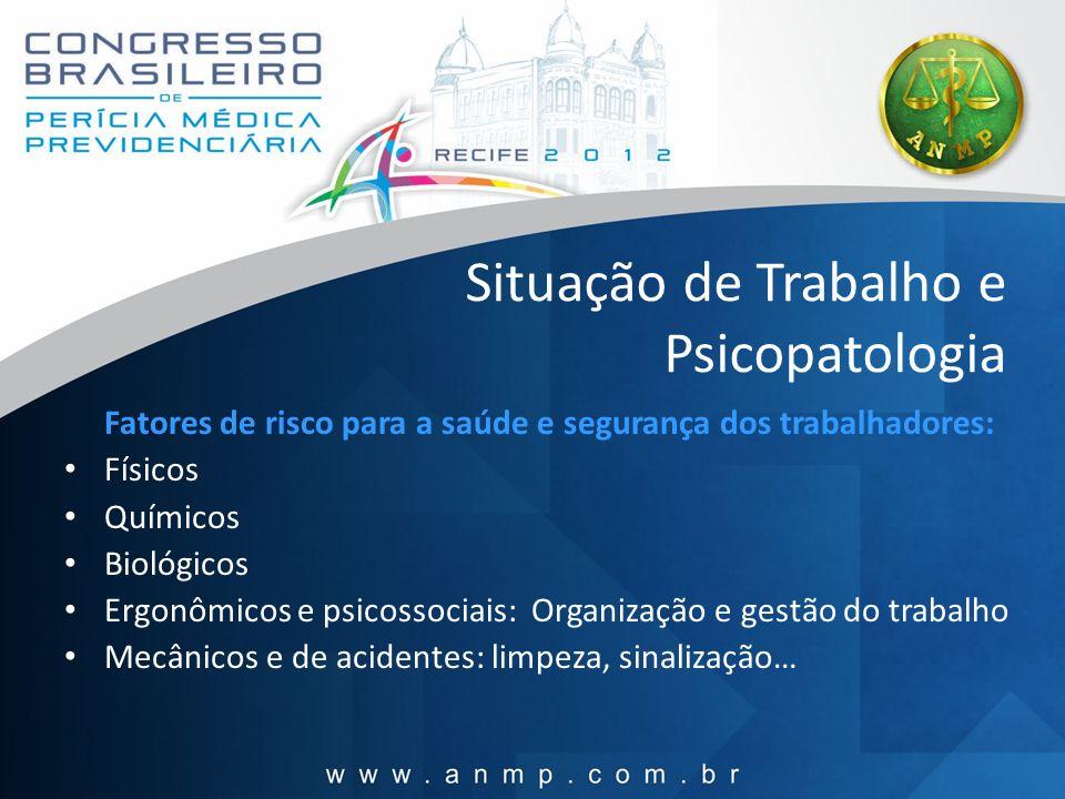 Situação de Trabalho e Psicopatologia