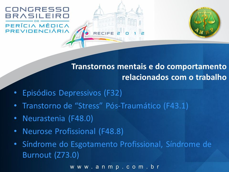 Transtornos mentais e do comportamento relacionados com o trabalho