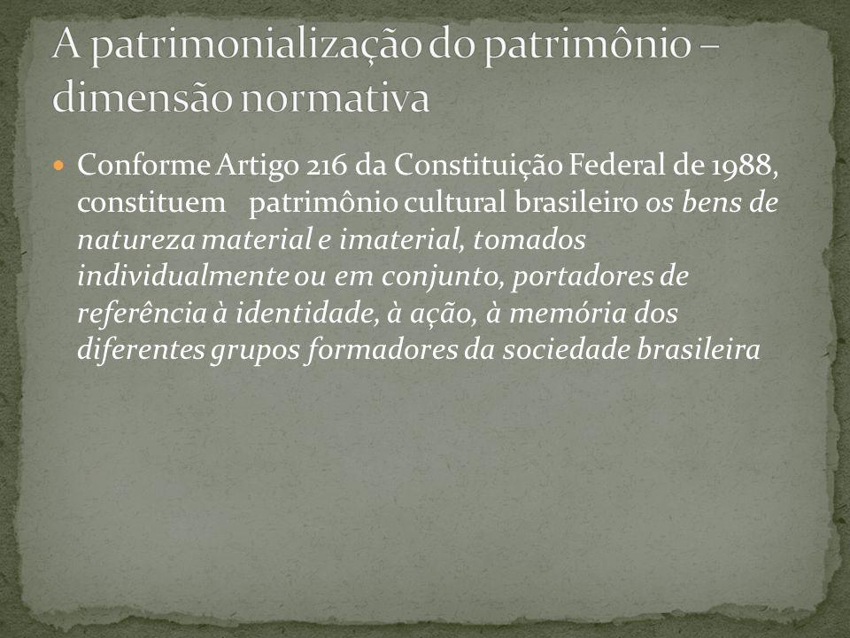 A patrimonialização do patrimônio – dimensão normativa