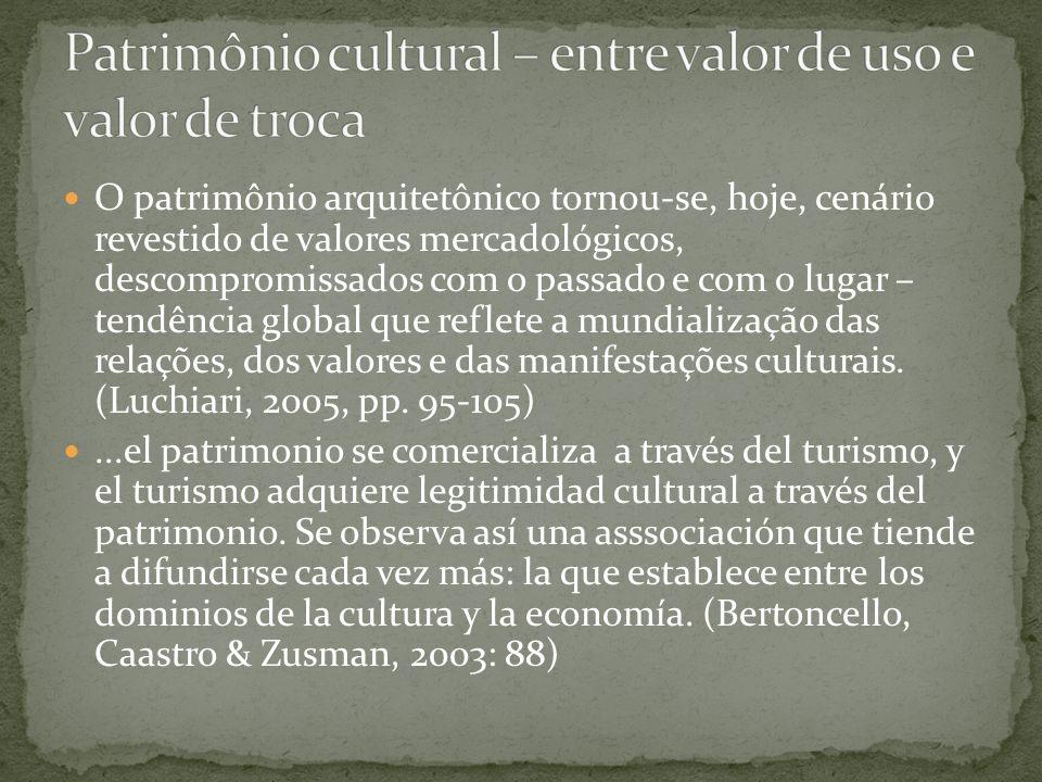 Patrimônio cultural – entre valor de uso e valor de troca