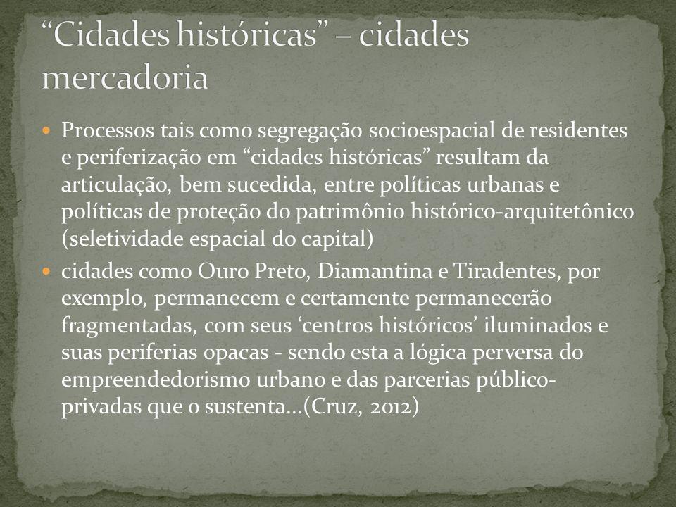 Cidades históricas – cidades mercadoria