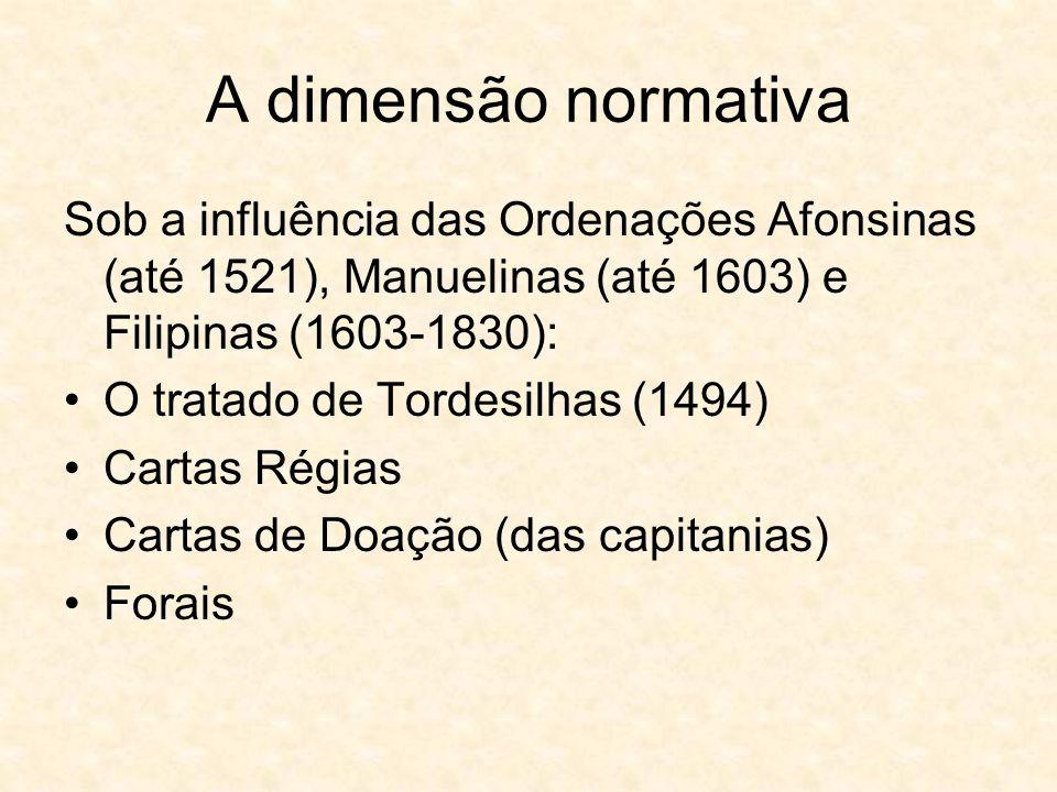 A dimensão normativa Sob a influência das Ordenações Afonsinas (até 1521), Manuelinas (até 1603) e Filipinas (1603-1830):
